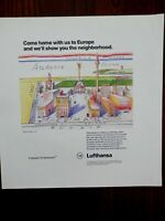 """1993 PRINT AD, Lufthansa Airlines, """"Come Home With Us To Europe"""", Map"""