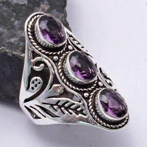 Amethyst Ethnic Handmade Ring Jewelry US Size-8.5 AR 39561