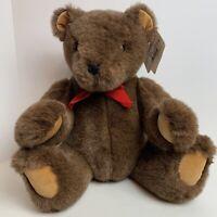 "GUND Teddy Bear Brown Jointed Red Bow Plush Jumbo 24"" Stuffed Animal #2285"