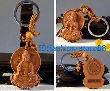Hot! Classical Fine Carved Wooden key chain keyring (Lucky Kwan-Yin Buddha)
