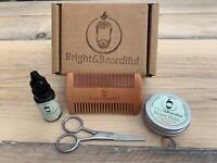 Beard Grooming Kit | Beard Balm, Beard Oil, Beard Comb FREE Scissors. Gift Set