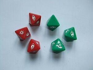 DICE SET (6), STAR WARS X-WING MINIATURES GAME, FFG, RED GREEN, FANTASY FLIGHT