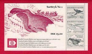 ZAYIX - 2001 Greenland HAFNIA '01 Blackprint Souvenir #1 - Narwhal / WHALES