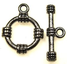 50Sets Wholesale Tibetan Black Rope Toggle Clasps Hooks Connector Findings Q0449