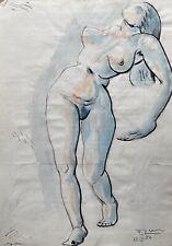 Fritz Zeh 1903 Weiblicher Akt Aquarell Skizze Female Nude Expressiv Modern