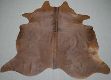 Extra Large Brazilian Solid Brown  Cowhide rug 7.3x 6.6 ft -3145
