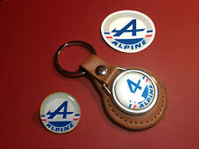 RENAULT ALPINE :  LEATHER KEY RING,   GOLD  PLATED  BADGE  +    PHONE STICKER