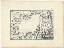 1634 PIGNEROL Pinerolo Nicolas Tassin rara acquaforte su rame mappa Torino