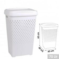 Coffre à linge Blanc Plastique Rigide 70 litres Grande Capacité Panier à Linge