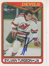 SYLVAIN TURGEON SIGNED 1990-91 O-PEE-CHEE #73 - NEW JERSEY DEVILS