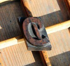 letter: D rare wood type letterpress printing block woodtype font antique print.