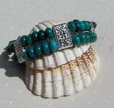 "Teal Chrysocolla Gemstone Crystal Beaded Chakra Bracelet ""Teal Melody"""
