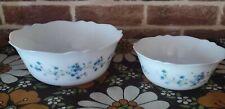 2 saladiers  Veronica Myosotis Fleurs Bleue Arcopal France