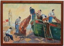 """R.DESEYMERY PEINTURE """"PECHEURS à LEURS FILETS"""""""" 1960"""