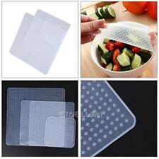 4pcs Food Fresh Keeping Silicone Saran Wrap Reusable Food Wrap Seal Cover strech