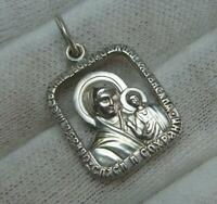925 Sterling Silver Icon Medallion Pendant Theotokos Mother of God Mary Text 747
