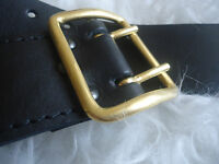 Russian Army Officer Original Leather Belt Fully Brass Buckle, Black, New