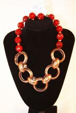Copper Tone Red Beads Jxdz New Necklace & Earrings Set Premium Fashion Jewelry