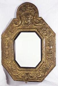 Antique/Vintage Baroque Style Dutch Wall Mirror-Ornate Brass/Gold Tone-Octagon