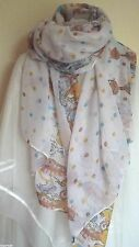 NEW  WOMENS WHITE  LONG   SCARF , [CATS] 65 INCHES LONG 40 INCHES WIDTH