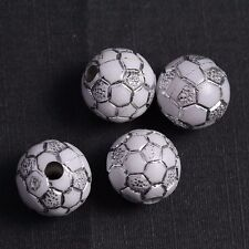 10 Perle Blanc 10mm acrilique Ballon de foot, Football bijoux, Attache tetine...
