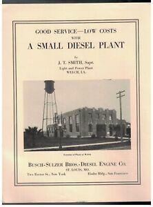 """1929 BUSCH-SULZER DIESEL PLANT IN WELCH LOUISIANA 8 1/2"""" X 11"""" 4 PAGE BROCHURE"""