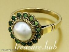CR1132- Genuine 9K Gold NATURAL PEARL & EMERALD Ring Cluster made in your size