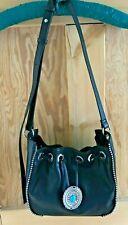M&S Black Handbag Drawstring Crossbody Bag Faux Leather Vegan BNWT