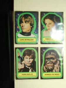 1977 Topps STAR WARS Blue Series 1: 11 Stickers Set, Luke Skywalker, Cards Vary.