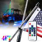 Xprite 4ft RGB LED Lighted Whip w/ Flag Remote Dancing for ATV UTV Polaris RZR