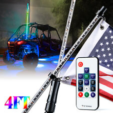 Xprite 4ft RGB LED Lighted Whip w/ Flag Remote Dancing for ATV UTV Polaris RZR