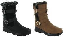 Ladies Womens Winter Fur Warm Cushion Walk Buckle Fleece Biker Boots Shoes Size