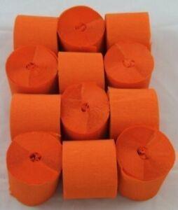 12 Orange Crepe paper EACH Streamer 45mm x 10metres quauliy decoration