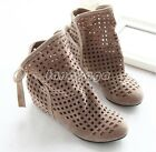 Fashion Womens Summer Hollow Out Bowtie Hidden Heels Ankle Sandal Shoes Plus SZ