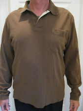 QUICKSILVER BROWN  LONG SLEEVE COTTON POLO SHIRT SIZE M
