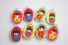 7Pcs New Japanese Dolls Enamel Charms Pendants Jewelery Findings Crafts 25x15mm