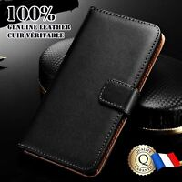Etui Cuir Véritable housse coque Genuine Leather Wallet case Samsung Galaxy S8