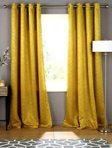 """New Gem Blockout Woven Eyelet Curtain Ochre Size 65 X 90 """""""