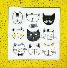 3 x Single Paper Napkins For Decoupage Yellow Black White Cats M510
