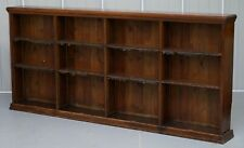 LARGE VICTORIAN SCHOOL OAK & MAHOGANY BOOKCASE ORIGINAL SUBJECT PLATES & LEATHER