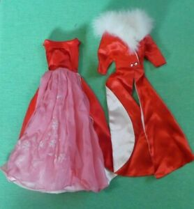 Vintage Barbie 1646 Magnificence Red Satin & Pink Chiffon Gown & Coat
