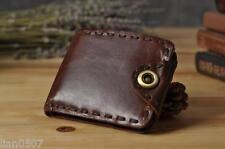 Real Leather Men's Bifold Wallet Slim Credit Card Holder Brown Front Pocket NEW