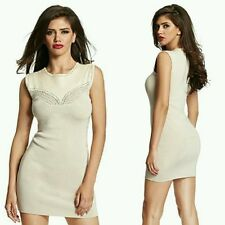 💕🌸 GUESS by Marciano beige Mels Leather Sweater Bandage Dress 🌸💕