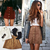 Fashion Womens High Waist Lace Up Suede Leather Pocket Preppy Short Mini Skirt G