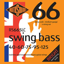ROTOSOUND RS665LC STAINLESS STEEL BASS STRINGS, MEDIUM GAUGE 5's - 40-125