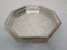 A Vintage Silver Plated Gallery Tray With Engraved Patterns.very Ornate.