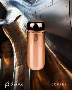Grunwerg Drink Pod Vacuum Flask 200ml Metallic Copper Double Wall LeakProof