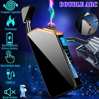 Plasma Dual Arc Electric Lighter Windproof Flameless USB Rechargeable Lighter US