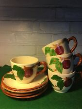 VINTAGE FRANCISCAN WARE APPLE PATTERN CUP AND SAUCER SET OF FOUR USA RETRO 1950S