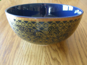 Williams Sonoma Lunar Extra Large Noodle,Pho,Serving Bowl-Blue & Gold design-New